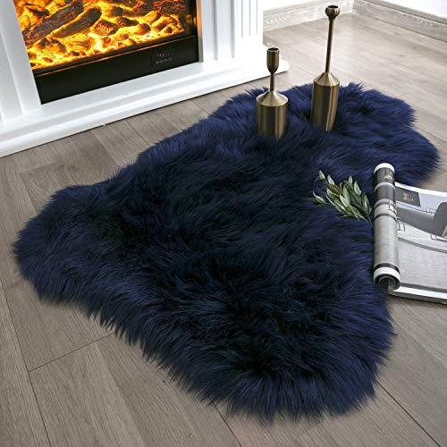 Ashler Soft Faux Sheepskin Fur Chair Couch Cover Navy Blue Area Rug for Bedroom Floor Sofa Living Room 2 x 3 Feet (Blue Room Rug)