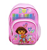 Dora the Explorer Mini Backpack 10″ in Pink with Boots Crayons, Bags Central