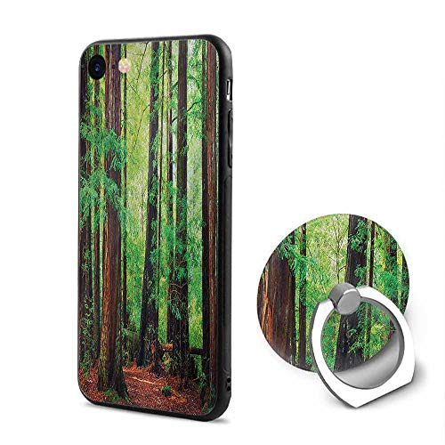 Woodland iPhone 6/iPhone 6s Cases,Redwood Trees Northwest Rain Forest Tropical Scenic Wild Nature Lush Branch Green Redwood,Design Mobile Phone Shell Ring Bracket ()