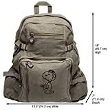WW1-Pilot Snoopy Heavyweight Canvas Travel Backpack Bag, Olive & Black (Large)