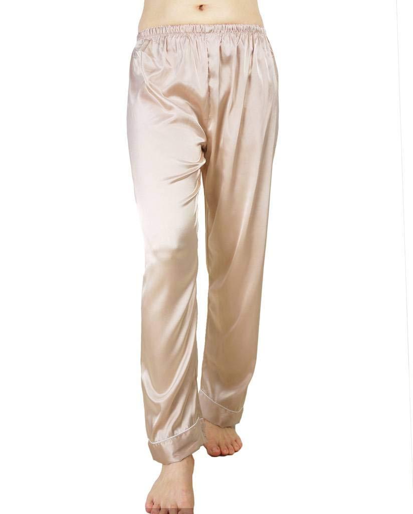 Wantschun Womens Satin Silk Sleepwear Pyjamas Long Pants Nightwear Loungewear Pajamas Bottom Trousers Champagne US XL (Asia 4XL)