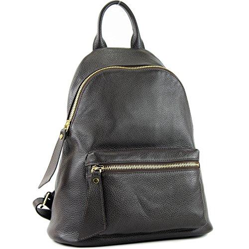 nur Farbe Präzise cuir Chocolate Farbe sac Damenrucksack en Dark de modamoda T171A Ital WvnAAp