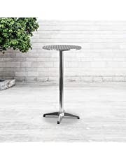 Flash Furniture TLH-059A-GG Round Aluminum Indoor Outdoor Folding Bar Height Table with Base, 25.5-Feet