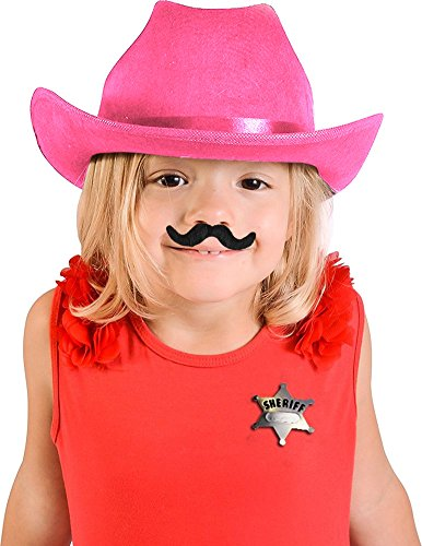 Child's Pink Country Cow Girl Cowboy Hat With Mustache And Badge Accessory Kit (Daisy Duke Fancy Dress)