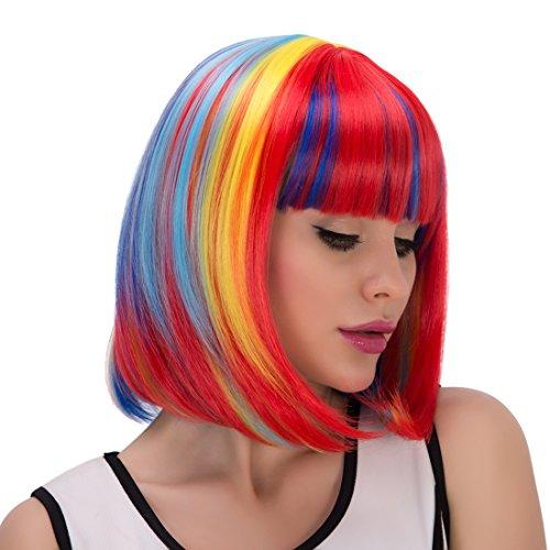 Stylish Rainbow Color Short Capless Bob Style Straight Women's Synthetic Wig ()