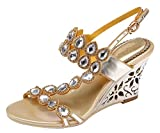 Honeystore Women's Water Patterned Rhinestones with Straps Wedge Sandals Gold 7.5 B(M) US