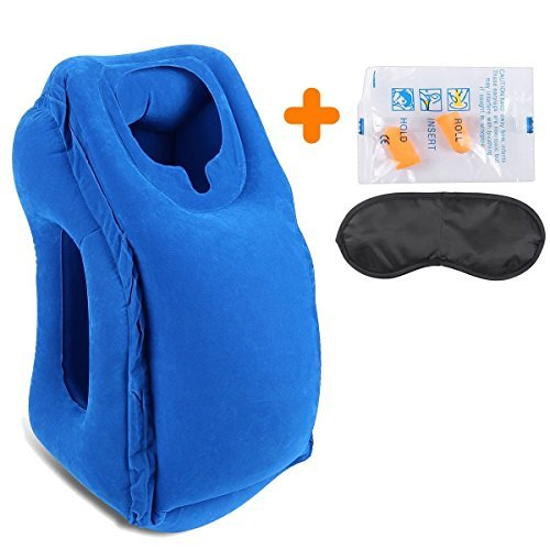 AirGoods Travel Pillow - Multifunctional Inflatable Travel Pillows For Airplanes, Portable Office Napping Pillow (Blue01)