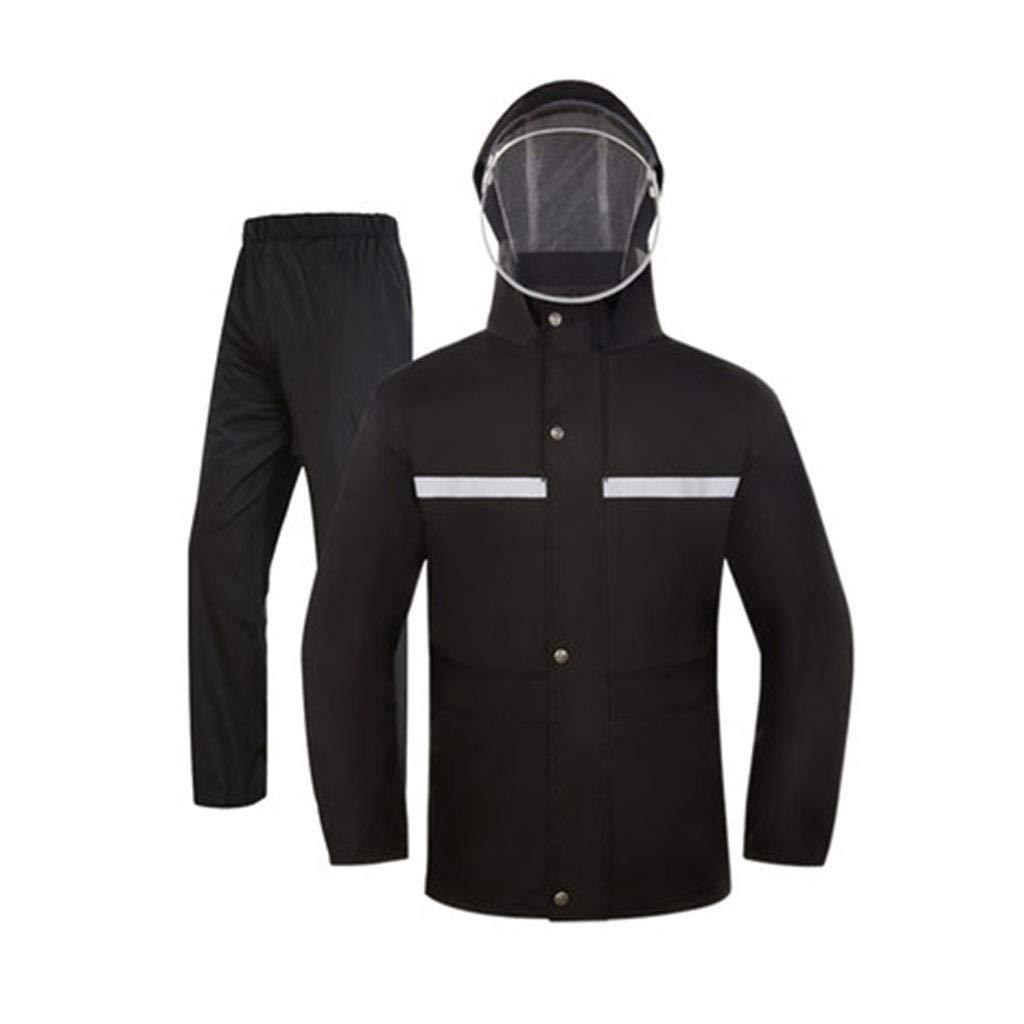 Noir XXXL JTWJ Pantalon de Pluie imperméable Costume Combinaison imperméable Double Couche imperméable (Couleur   Noir, Taille   XXL)