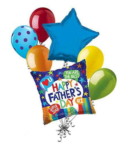 - 7 pc Best Dad Accolade Words Happy Father's Day Balloon Bouquet Party Decoration
