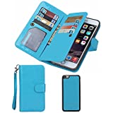 Summer Clearance Sale Day 2016 For iPhone 5/5s Wallet Case,Valentoria® Leather Magnetic Detachable Slim Back Cover Card Holder Slot Wrist Strap Case(iPhone 5/5s, Turquoise)