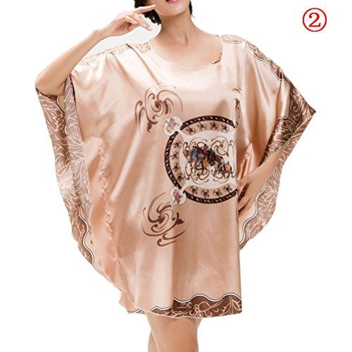 Zhhlinyuan Women's Silk Blend Robe Wrap Dress Loose Round Neck Gown Bath Sleepwear Pajamas 7050 2