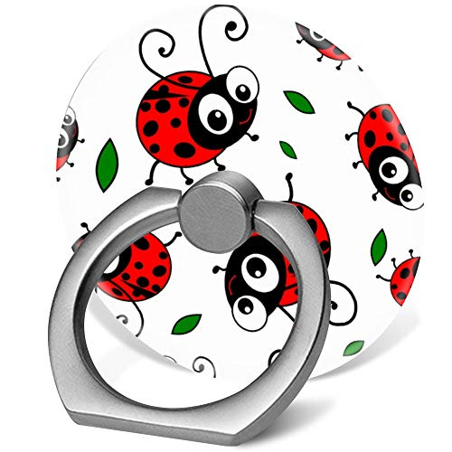 360 Degree Finger Stand Cell Phone Ring Holder Car Mount with Hook for Smartphone-Cute Ladybugs Pattern