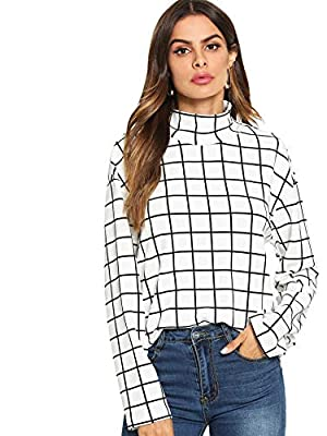 Floerns Women's Causal Long Sleeve High Neck Plaid Print Blouse Tops