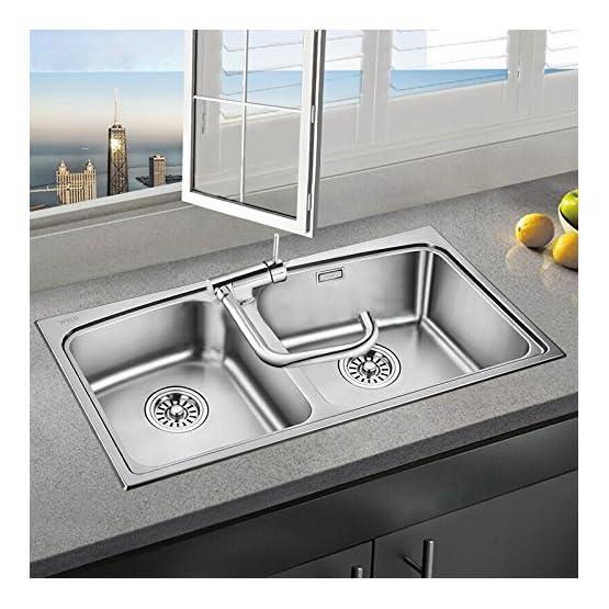 Miscelatore Cucina Sottofinestra Cromato Alto Pieghevole per Lavello doppia Funzione Acqua Calda e Fredda in Ottone Cromo HOMELODY