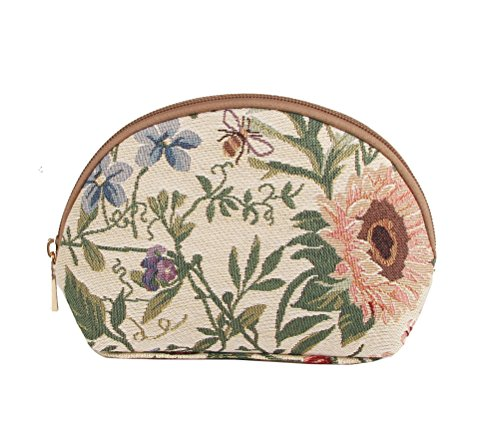 - Signare Light Floral Tapestry Makeup Bag Travel Cosmetic Bag Brush Bag for Women Girls with Sunflower Poppy Butterfly Dragonfly (COSM-MGD)