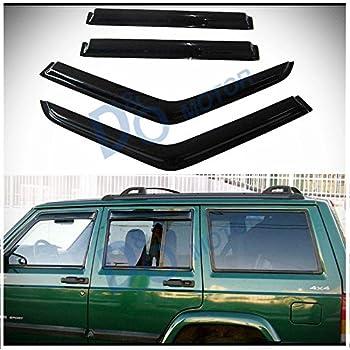 D O MOTOR 4pcs Front+Rear Smoke Sun Rain Guard Outside Mount Tape-On Window  Visors For 84-01 Jeep Cherokee 4-Door 0a94ffb7112