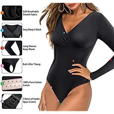 LODAY Women V Front Wrap Bodysuit Jumpsuit Sexy Long Sleeve Snap Crotch Leotard Tops: Clothing