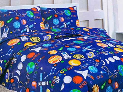 (Sapphire Home 2 Piece Twin Size Kids Boys Teens Bedspread Coverlet Quilt Set with Sham, Space Planets Rockets Blue Print Blue Multicolor Boys Kids Bedding Set, Twin Bedspread Space)