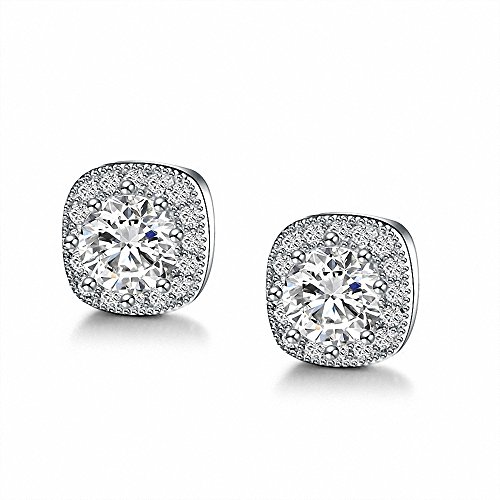 Sterling Silver White Gold Plated Zircon CZ Small Simple Halo Square Diamond Hypoallergenic Stud Earring For Women Small Square Earrings