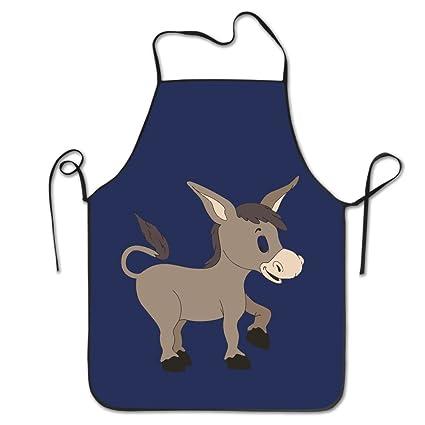 Unisex cocina delantales de dibujos animados burro – Chef delantal delantal barbacoa delantales