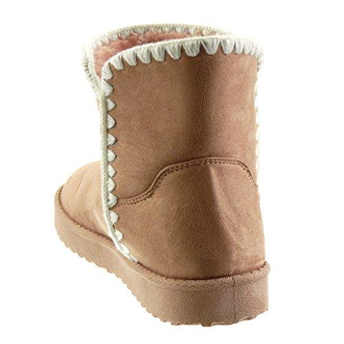 Angkorly - Zapatillas de Moda Botines Botas de nieve mujer ganchillo Talón tacón plano 3 CM - plantilla Forrada de Piel Rosa
