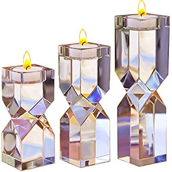 462da5a047 Le Sens Amazing Home Large Crystal Candle Holders Set of 3, 4.6/6.2/7.7  inches Height, Elegant Heavy Solid Square Diamond Cut Tealight Holders  Sets, ...