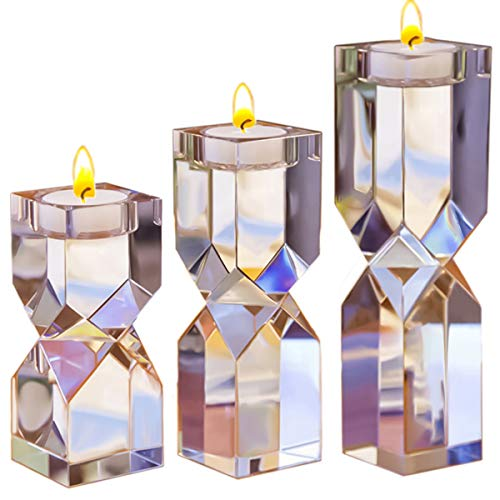 Le Sens Amazing Home Large Crystal Candle Holders Set of 3, 4.6/6.2/7.7 inches Height, Elegant Heavy Solid Square Diamond Cut Tealight Holders Sets, Centerpieces for Home Decor and Wedding (Elegant Centerpieces For Tables)