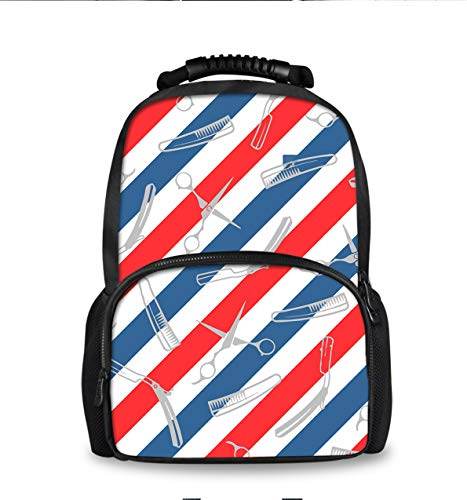 American USA Barber Shop Flag Stripe Daypack With Smooth Zippers, Travel And Sport Backpack Rucksack Big Capacity Casual College School Daypack Anti-Theft Multipurpose for Teen Girl Boy