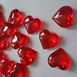 ElE&GANT 1LB(Approx 225Pcs) Red Acrylic Heart For Table Scatter Decoration or Vase Filler
