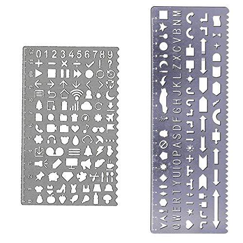 Letter Number Metal Template Set, JoyTong Drawing Planner - Ruler Alphabet Stencil