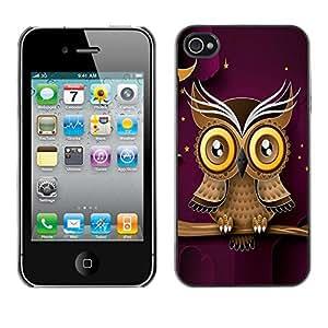 Qstar Arte & diseño plástico duro Fundas Cover Cubre Hard Case Cover para Apple iPhone 4 / iPhone 4S / 4S ( Owl Purple Smart Design Minimalist Modern)