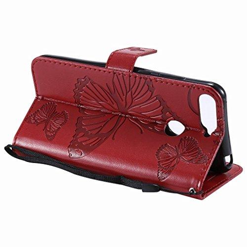 Carte Slot Slim 3d Cover Pu Cuir Pochette Etui Honor Huawei Portefeuille Rouge Papillons 7a marron Tpu Avec Protecteur Housse Aimant Doux Pour Flip Silicone Coque Laybomo 7a CqABgw
