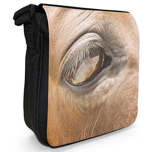 Horses Eye Small Black Canvas Shoulder Bag / Handbag