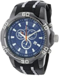 Joshua & Sons Mens JS50BK Black Metal Watch with Two-Tone Silicone Strap