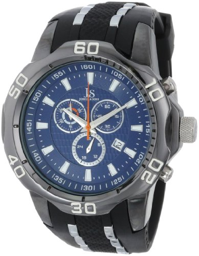 Tone Two Silicone - Joshua & Sons Men's JS50BK Black Metal Watch with Two-Tone Silicone Strap