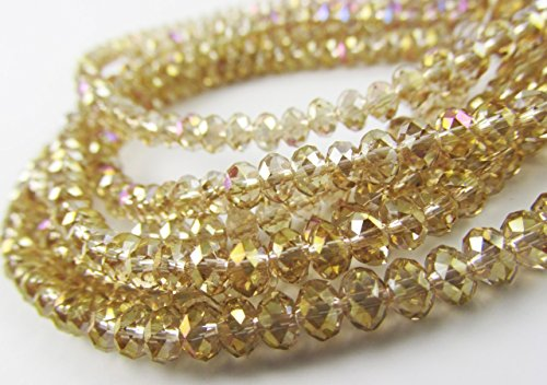 BeadsOne 32pcs Glass Rondelle Faceted Beads 12mm Brown Champagne AB C26 Top (Ab 12mm Beads)