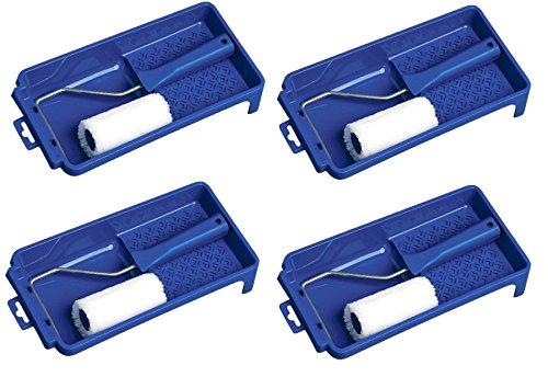 4 x Lasur Set Mikrofaser 10cm B/ügel Farbwanne f/ür d/ünnfl/üssige Lacke und Lasuren