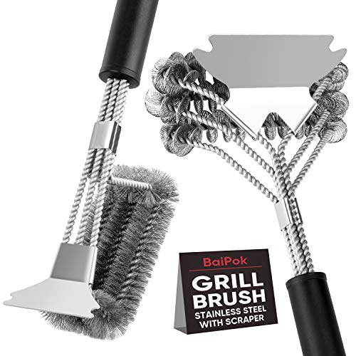 """Grill Brush Set of 2 Bristle Free Grill Brush Scraper Grill Cleaner, 18"""" Safe Rust Resistant Stainless Steel Cleaner Brush, BBQ Cleaning Kit Barbeque Wire Brush for Gas/Porcelain/Ceramic Grill Grates"""