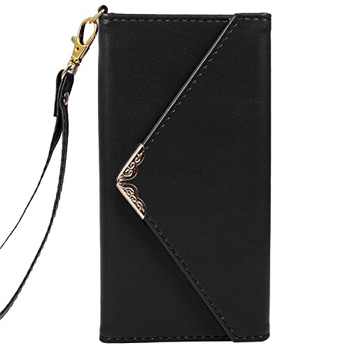 iPhone x Case, iPhone10 Wallet Case, Crosspace Envelope Flip Handbag Shell Women Wallet PU Leather Slim Holster Magnetic Folio Cover with Card Holder Wrist Strap for Apple iPhone 10-Black