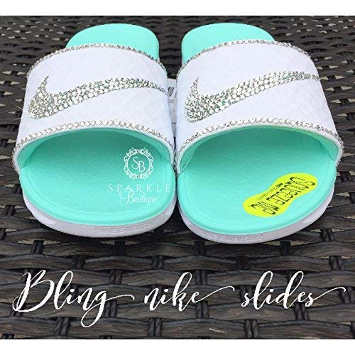 be86c5c8afd3 Amazon.com  Bling NIKE Slides with Swarovski Crystals CUSTOM Nike Sandals  with extra Bling by SparkleBoutique2U  Handmade