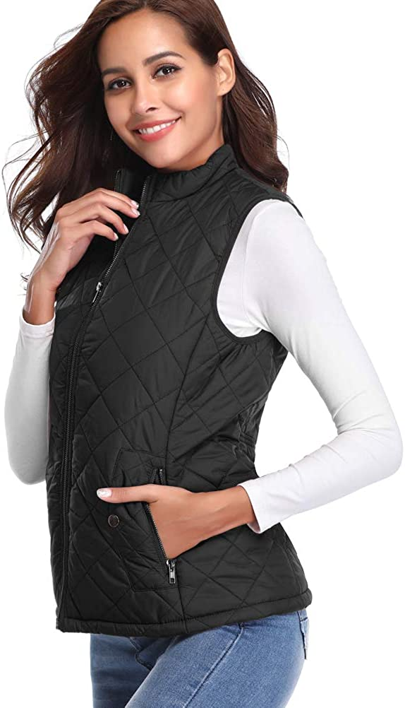 fuinloth Women's Padded Vest, Stand Collar Lightweight Zip Quilted Gilet: Clothing