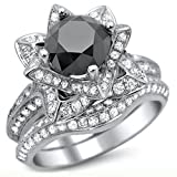 Smjewels 3.55 Ct Black Round Sim.Diamond Lotus Flower Engagement Ring Set In 14K White Gold Fn
