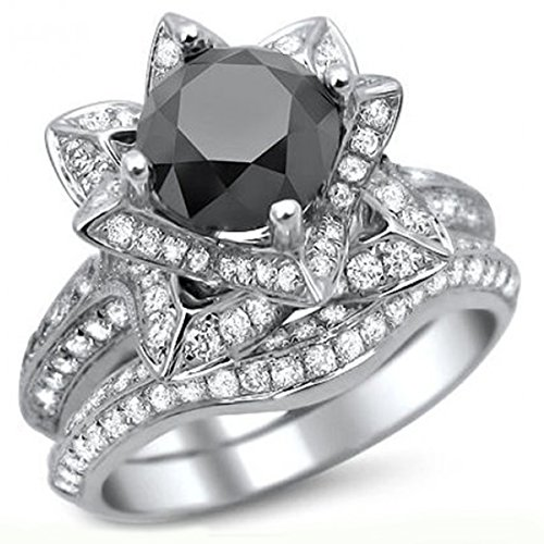 Smjewels 3.55 Ct Black Round Sim.Diamond Lotus Flower Engagement Ring Set In 14K White Gold Fn by Smjewels