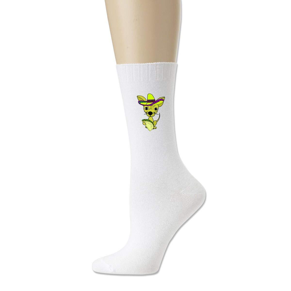 Rigg-socks Chihuahua Dog Eating Taco Mens Comfortable Sport Socks Black