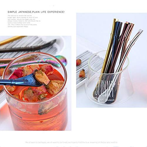 Spoon Straws Yerba Mate Bombilla Straws Stainless Steel Filter Straw Spoon Reusable Bombillas Coffee Straws Soup Spoon with Cleaning Brush