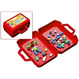 ModFamily My Brick Case - Portable Storage Box for Kids Building Bricks - Comes with Play Surface for Storing and Building Bricks On-The-Go - Toys for Boys & Girls - (Red)