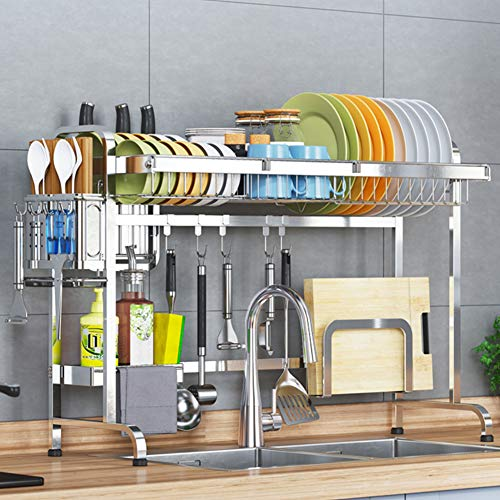 Dish Drying Rack Over Sink,Stainless Steel Dish Rack with Utensil Holder Cutting Board Holder Dish Drainer Storage Organizer-Silver Single Tier 93cm(37inch)