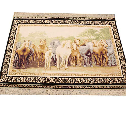 (YILONG CARPET 3x4ft Oriental Small Rugs Traditional Area Rug Solo Handmade Wall Hanging Tapestry Horses Design Persian Silk Carpet Hand Knotted Silk Rug (Beige Green))