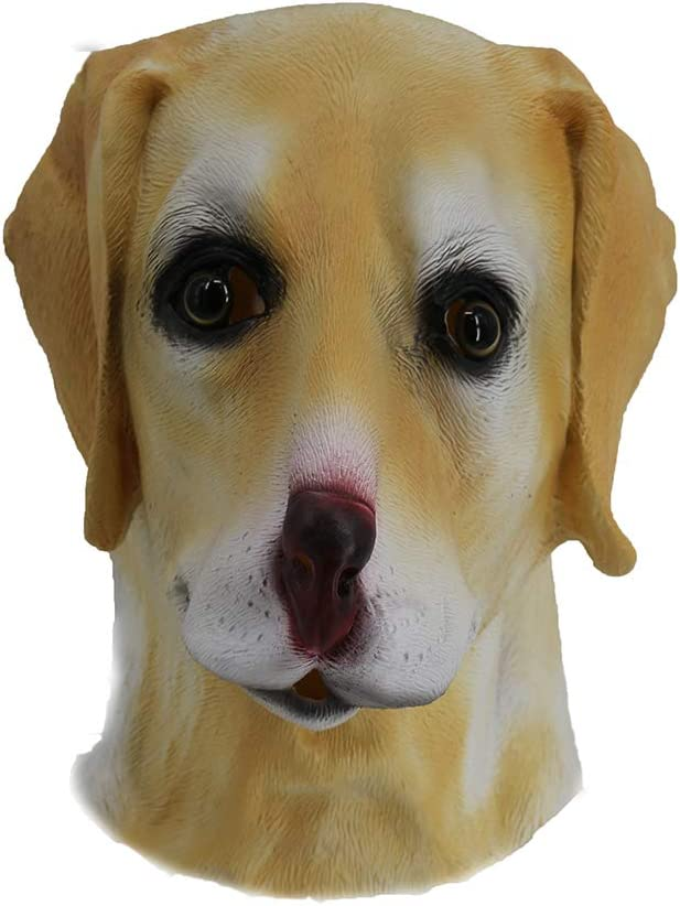 Latex Full Head Animal Golden Labrador High Quality Fancy Dress Up Carnival Mask