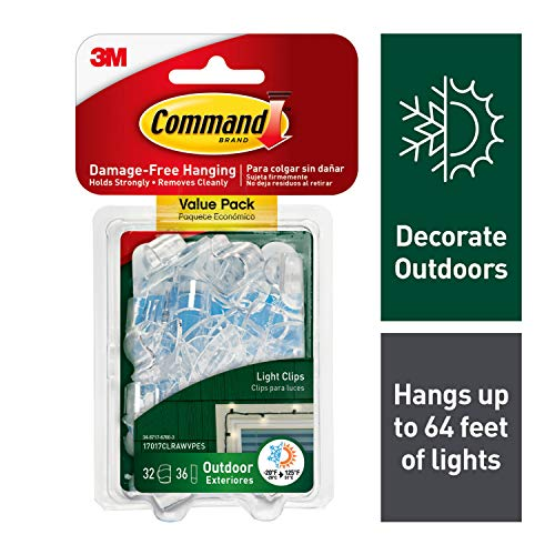 Command Outdoor Light Clips Value Pack, Clear, -